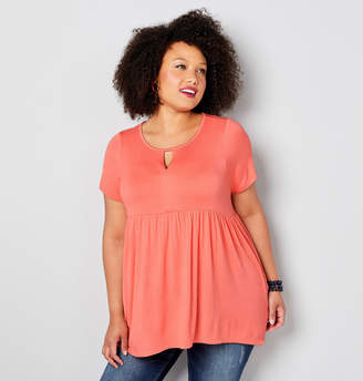 Avenue Plus Size Short Sleeve Babydoll Hi Lo Hem Top