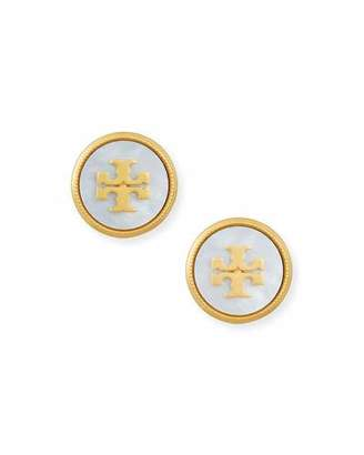 Tory Burch Mother-of-Pearl Logo Stud Earrings