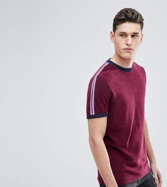 Asos Design TALL T-Shirt In Towelling With Taping Shoulders In Oxblood