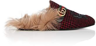 Gucci Men's Faux-Fur-Lined Leather Slippers