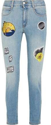 All Is Love Embroidered Mid-Rise Skinny Jeans