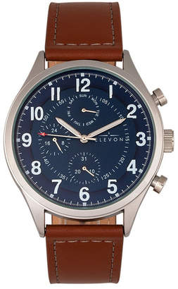 Lindbergh Elevon Men Genuine Leather Strap Watch 45mm