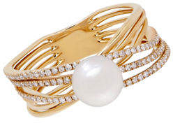 Tag Heuer FINE JEWELLERY 6-7MM Freshwater Pearl and 14K Gold and 0.30 TCW Diamond Ring