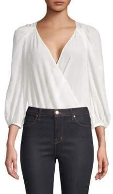 BCBGMAXAZRIA Silk Crossover Bodysuit