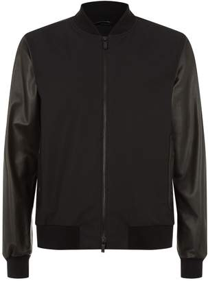 Ermenegildo Zegna Contrast Leather Bomber Jacket