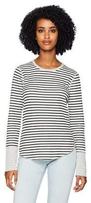 Three Dots Women's FG2672 Solid and Stripe l/s Crewneck Top
