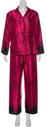 Oscar de la Renta Satin Pajama Pant Set