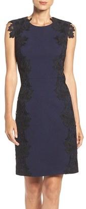 Betsey Johnson Lace Trim Scuba Sheath Dress $158 thestylecure.com