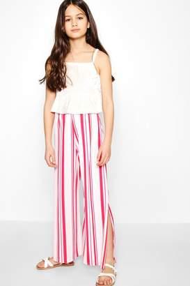 boohoo Girls Candy Stripe Wide Leg Trouser