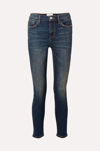 The High Waist Stiletto Cropped Skinny Jeans - Dark denim