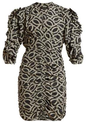 Isabel Marant Andor Cog Print Stretch Silk Crepe Mini Dress - Womens - Black White