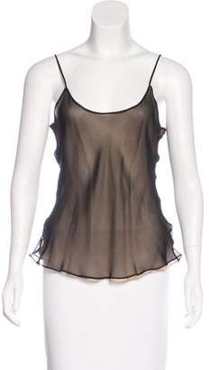 Oscar de la Renta Semi-Sheer Sleeveless Top