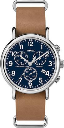 Timex Weekender Slip-Thru Tan Leather Strap Chronograph Watch TW2P623009J