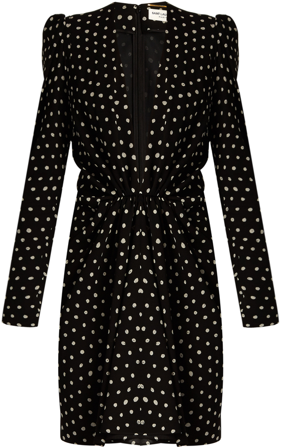 Saint Laurent SAINT LAURENT Lipstick-dot crepe dress