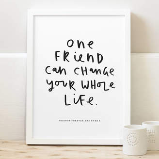 Old English Company One Friend Personalised Friendship Print