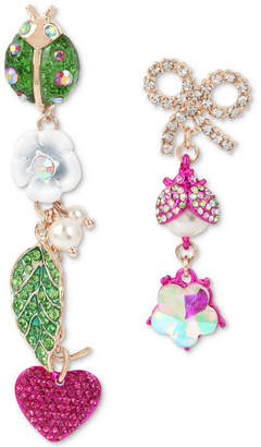 Betsey Johnson Multi-Tone Crystal & Imitation Pearl Garden Mismatch Earrings