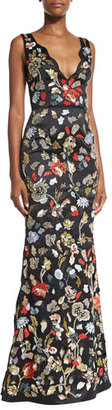 Alice + Olivia Sleeveless Floral Embroidered Satin Gown, Black/Multicolor $1,995 thestylecure.com