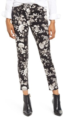 7 For All Mankind Jen7 By High Waist Floral Print Ankle Skinny Jeans
