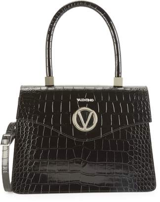 Call Of The Wild Valentino By Mario Valentino Melanie Croc-Embossed Leather Top Handle Satchel