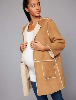 BB Dakota Drape Front Faux Suede Reversible Maternity Jacket