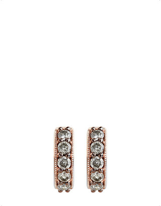 Annoushka 18ct rose gold and grey diamond hoop earrings