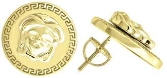 Versace Saris and Things 925 Sterling Silver Yelow-tone Medusa Unisex Stud Earrings