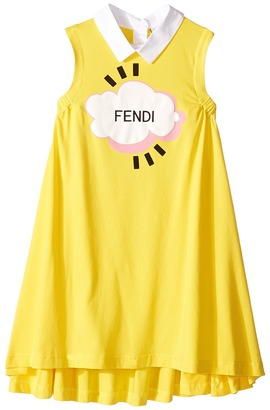 Fendi Kids - Sleeveless Collar Logo Graphic Dress Girl's Dress $270.60 thestylecure.com