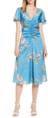 AVEC LES FILLES Painterly Boutique Ruched Satin Dress