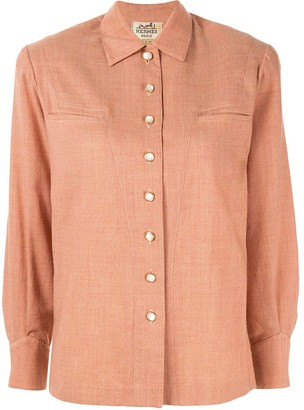 Hermes Pre-Owned logo buttons straight shirt