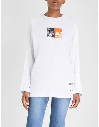 Sjyp Stripe Tape cotton-jersey top