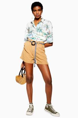 Topshop Tan Belted Lyocell Shorts