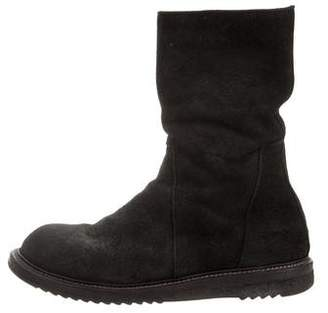 Rick Owens Suede Mid-Calf Boots