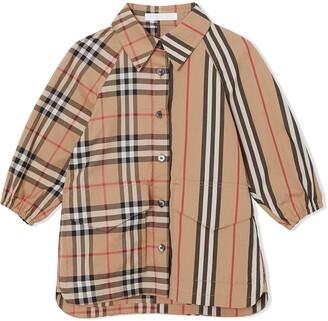 Burberry Vintage Check and Icon Stripe Cotton Shirt Dress