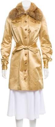 Douglas Hannant Fur-Trimmed Silk Coat