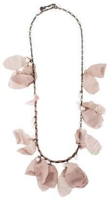 Lanvin Silk Petal Flower & Pearl Necklace Brass Silk Petal Flower & Pearl Necklace
