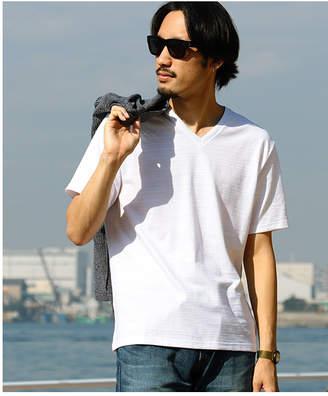 Men's Bigi (メンズ ビギ) - Men's Bigi Vネック半袖Tシャツ/スラブ天竺