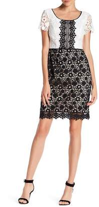 NUE by Shani Colorblock Lace Short Sleeve Dress