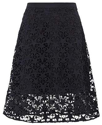 HUGO BOSS Layered A-line midi skirt in star lace