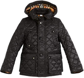 Burberry Charlie Check-Lined Quilted Jacket, Size 4-14