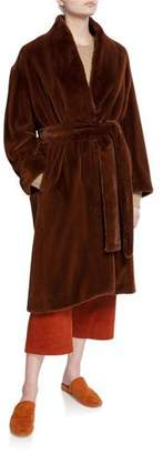 Vince Long Plush Belted Coat