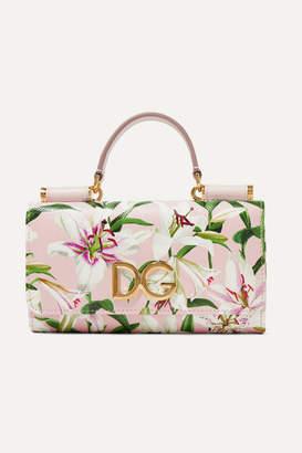 Dolce & Gabbana Von Floral-print Textured-leather Shoulder Bag - Pink