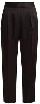 Khaite - Esther High Rise Straight Leg Crepe Trousers - Womens - Black