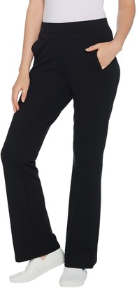 Denim & Co. Active Petite French Terry Lightly Boot-Cut Pants