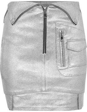 RtA Zip-Detailed Metallic Stretch-Leather Mini Skirt