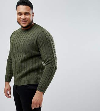 Asos Plus Cable Knit Jumper In Khaki