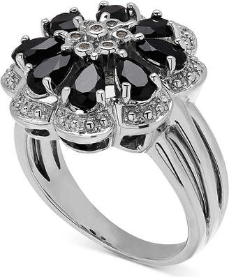 Macy's Onyx & Diamond Accent Flower Ring in Sterling Silver
