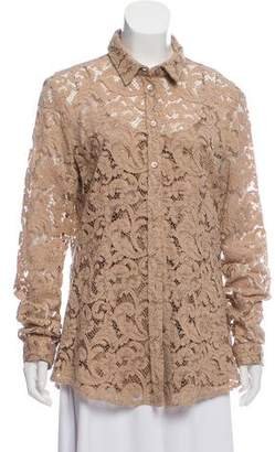 Burberry Guipure Lace Button-Up Top
