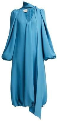 Valentino Tie Neck Balloon Sleeve Silk Dress - Womens - Blue