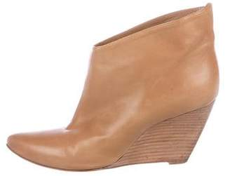 Sigerson Morrison Leather Pointed-Toe Wedge Booties