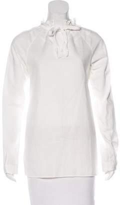 Zero Maria Cornejo Ruffle-Trimmed Long Sleeve Top